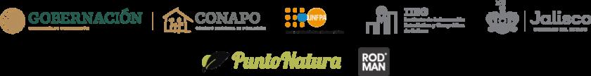 Logos, gobierno federal, conapo, UNFPA, IIEG, Jalisco, Punto natura, RODMAN